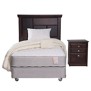 Box Spring Style 2 1,5 Plazas BN + Textil + Muebles