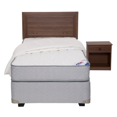 Box Spring Therapedic 1,5 Plazas Base Normal + Muebles + Textil