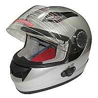 Casco Moto Con Bluetooth Gris