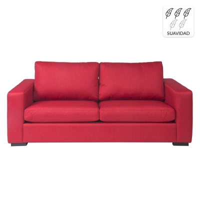 Sofá 3 Cuerpos Martina Tela Rojo