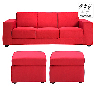 Sofá 3 Cuerpos + 2 Pouf New Gume Chenille Rojo