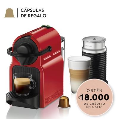 Cafetera Nespresso Inissia Red + Aeroccino