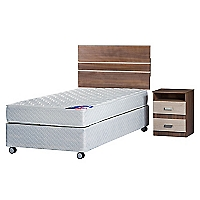 Cama Americana New Entree 1,5 Plazas Base Normal + Muebles