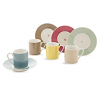 Set 4 Tazas Café Con Plato Bicolor