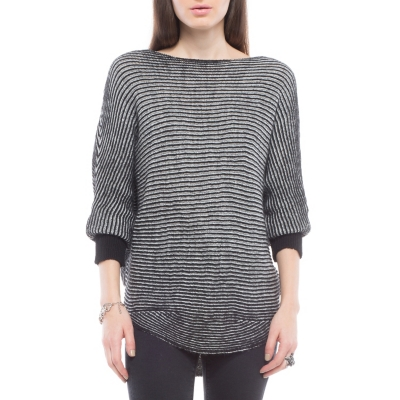 Sweater con Rayas Negro