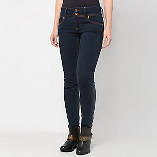Jeans Mujer Pretina Ancha Oscuro