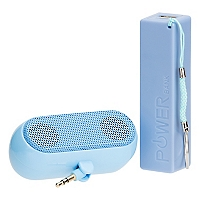 Kit Cargador Bater�a Power Bank 2600 + Parlante Azul