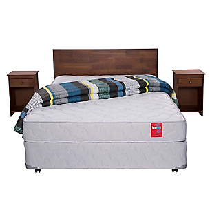 Cama Americana Beat 2 Plazas Base Normal + Muebles + Textil