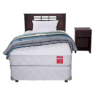 Cama Americana Beat 1,5 Plazas Base Normal + Muebles + Textil