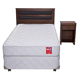 Cama Americana Beat 1,5 Plazas Base Normal + Muebles