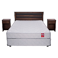 Cama Americana Beat 2 Plazas Base Normal + Muebles