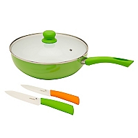 Wok Cerámico Verde + Tapa + 2 Cuchillos Cerámicos