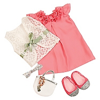 Muñeca Ba Outfit Deluxe Pink Dress y Purse
