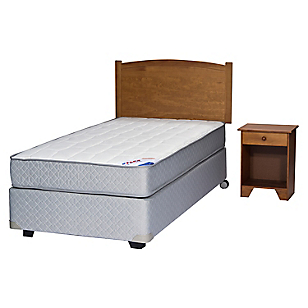 Box Spring Therapedic 1,5 Plazas BN + Muebles
