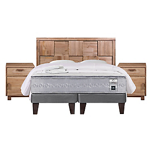 Cama Europea Zen 1 King Base Dividida + Muebles + Textil