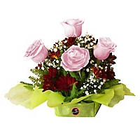Arreglo Floral 4 Rosas Rosadas