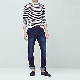Jeans Bob Straight-Fit Oscuros
