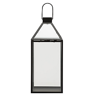 Farol Vidrio con Metal Negro Seasonal Traves