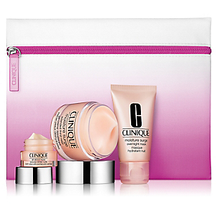 Set Mascarilla Nocturna de Hidratación Moisture Surge Overnight Mask 30 ML + Descongestionante de Bolsas y Ojeras All About Eyes 7 ML + Bálsamo Labial Chubby Stick Baby Tint 1.2 G
