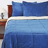 Cubrecama Sherpa Liso Azul King