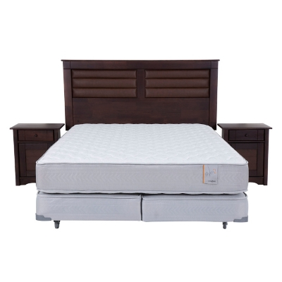 Box Spring Style 2 King + Muebles Bordeaux