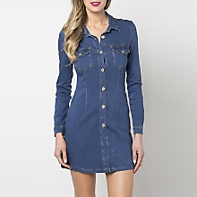 Vestido Denim Manga Larga