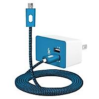 Wallcharger Dual Micro USB 1m Azul