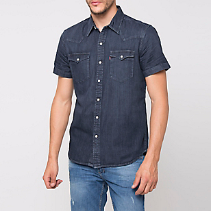 Camisa Denim Manga Corta Lisa