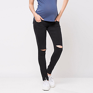 Jeans Skinny Maternal con Tajo en la Rodilla