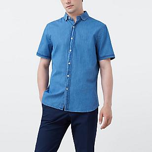 Camisa Slim-Fit Denim Medio