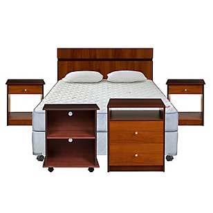 Cama Americana Mica 2 Plazas BN + Muebles + Textil
