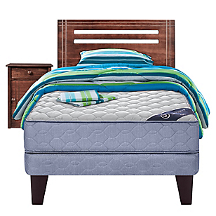 Cama Europea Essence 3 1,5 Plazas BN + Muebles + Textil