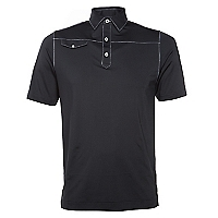 Polera Solid Lisle Faux Pocket Af Black