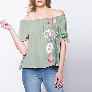 Blusa Cuello Bote Diseño Flores