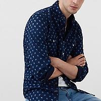 Camisa Slim Fit Chambray Estampada