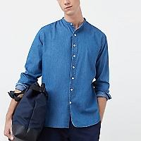 Camisa Regular Fit Chambray Estampada