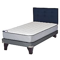Cama Europea Therapedic 1,5 Plazas BN + Respaldo Azul