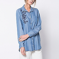 Blusa Manga Larga Denim