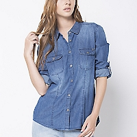 Blusa Denim Manga Larga