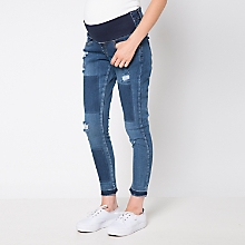 Jeans Maternal Cropped con Parches