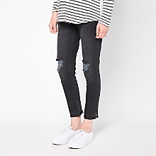 Jeans Maternal Cropped Desgastado