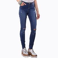 Jeans Lisos Rasgados Tiro Medio y Bota Pitillo