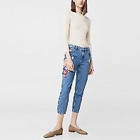 Jeans Straight Crop Bordados