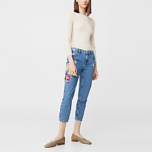 Jeans Straight Crop Bordados