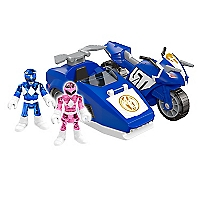 Figura Power Ranger Rosada/Azul Moto