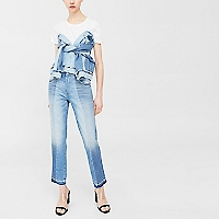 Jeans Straight Crop Mix