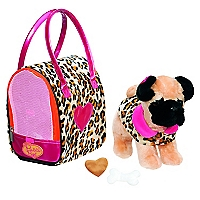 Perro Pug con Bolso Animal Print