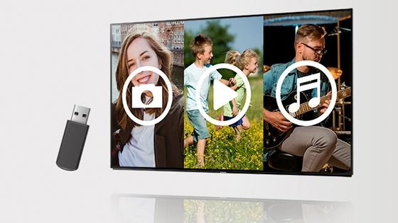 TV con íconos de botón play, una corchea, y un ícono de video. Y un dispositivo USB al costado