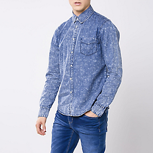Camisa Denim Estampada Regular