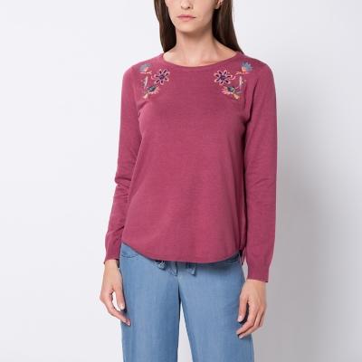 Sweater Liso Bordado Flores